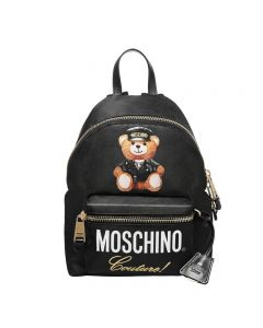 Moschino Loves Printemps Bear Women Leather Backpack Black