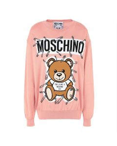 Moschino Safety Pin Teddy Women Long Sleeves Sweater Pink