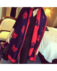 Moschino Teddy Bears Women Long Wool Scarf Navy Blue/Red