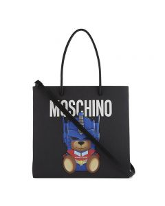 Moschino Transformer Bear Women Leather Tote Black
