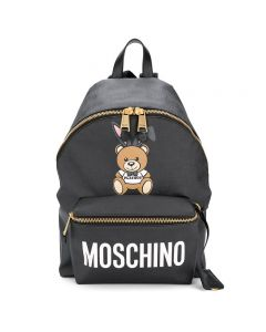 Moschino Playboy Bear Women Large Leather Backpack Black