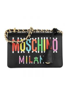 Moschino Milano Question Women Small Leather Shoulder Bag Black