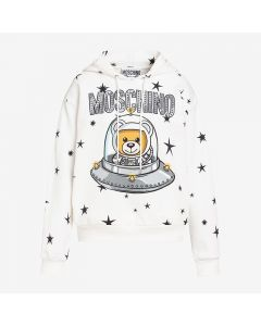 Moschino Ufo Teddy Women Long Sleeves Sweatshirt White