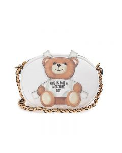 Moschino Cross Bear Women Small Leather Shoulder Bag White