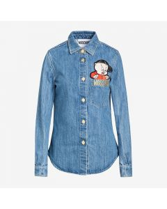 Moschino Chinese Pig Year Women Long Sleeve Shirt Blue