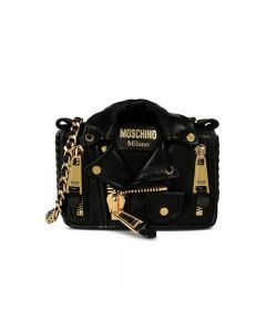 Moschino Biker Jacket Women Small Leather Shoulder Bag Black