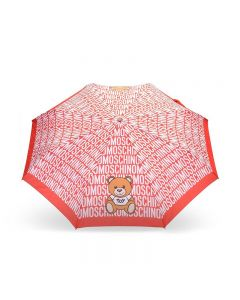 Moschino Logo Toy Bear Women Mini Umbrella Red