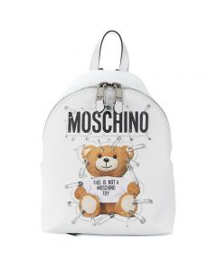 Moschino Safety Pin Teddy Women Medium Leather Backpack White