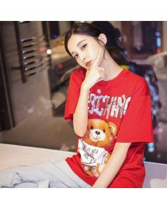 Moschino Christmas Teddy Women Short Sleeves T-Shirt Red