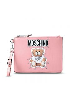 Moschino Safety Pin Teddy Women Leather Clutch Pink