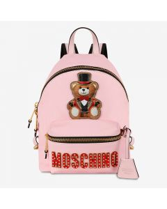 Moschino Circus Teddy Women Leather Backpack Pink