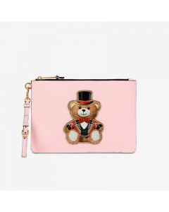 Moschino Circus Teddy Women Leather Clutch Pink