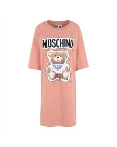 Moschino Safety Pin Teddy Women Short Sleeves Short Dress Pink