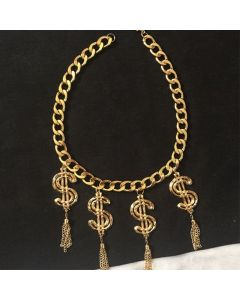 Moschino Dollors Tassels Women Chain Necklace Gold