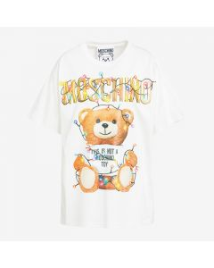 Moschino Christmas Teddy Women Short Sleeves T-Shirt White